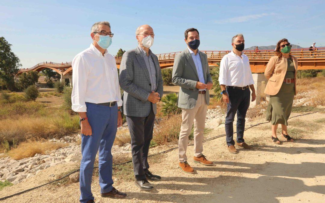 Inauguración de la pasarela sobre le río Guadalhorce, en Málaga