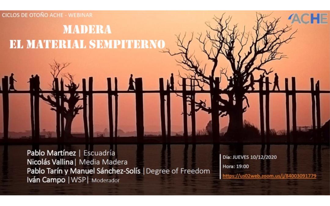 Ponencia en el seminario de ACHE: «Madera: el material sempiterno»